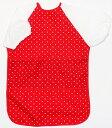 半袖食事用エプロン ロングタイプ水玉柄レッド 保育園ベビー