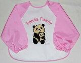長袖食事用エプロン(ピンク)[立体ポケット]パンダ親子柄よりどり2枚以上で(メール便)
