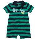 【メール便OK】カーターズ(Carter's) 恐竜 緑×ネイビー紺 ボーダー えりつき ポロシャツ ロンパース/ショートオール 男の子