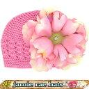 【メール便可】 JamieRaeHats クロシェットニットハット キャンディピンク×ペールピンクピオニー ニット帽子 Candy Pink Crochet Hats ..