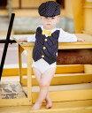 Rugged Butts ネイビーストライプベスト付き長袖ロンパース/ボディスーツ/ワンピース/結婚式、誕生日、おめかしに(Navy Pinstripe Vest..