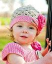 【メール便可】Ruffle Butts グレース(カーキ/グレー)クロシェニット帽子/コットンハット/フラワーモチーフ (Handmade Crocheted ...