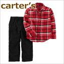 【送料無料】カーターズ セット,赤チェック長袖シャツ+黒コーディロイパンツお買得2点セット,男の子