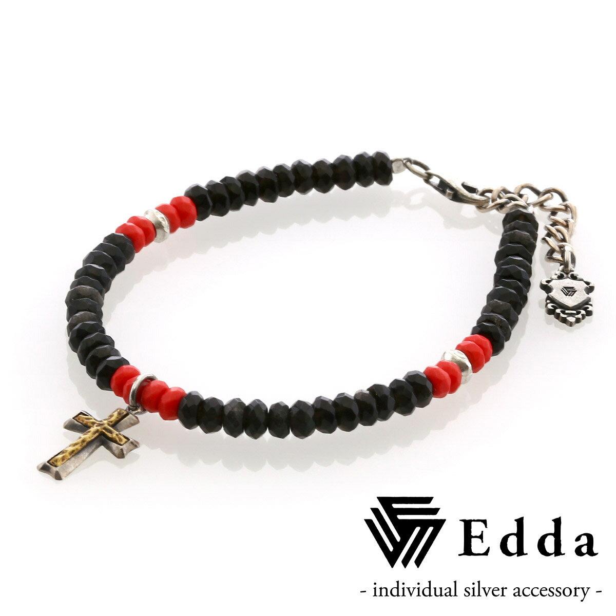 エッダ【Edda】クロスチャーム ビーズブレスレット レディス EB-001-RB-L
