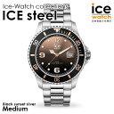 アイスウォッチ ice watch レディース メンズ ICE steel - アイススティール ブラックサンセット シルバー (ミディアム)