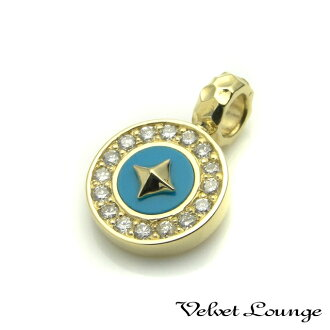 Pendant : K18 Liberty w/diamond/turquoise