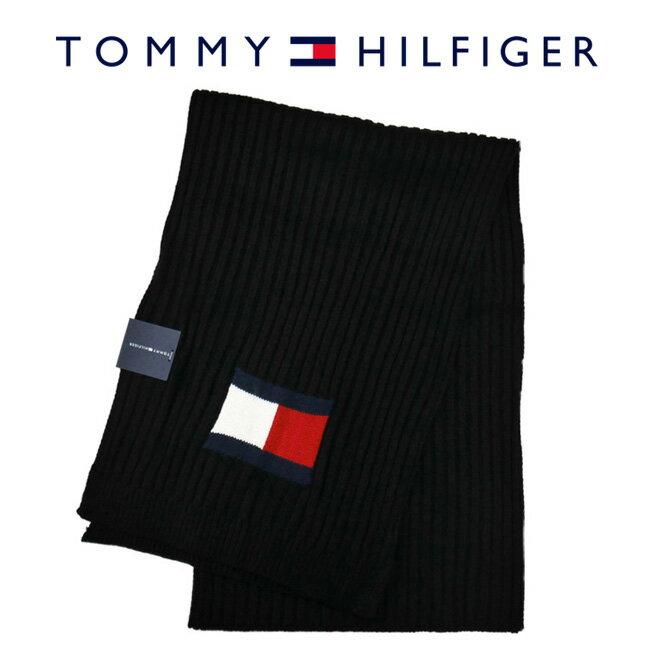 TOMMY HILFIGER トミーヒルフィガー H8C73220 001 マフラー Knit Logo Scarf ブラック メンズ レディース ユニセックス ロゴ 【RCP】