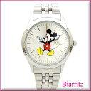 Disney ミッキーマウス金属ベルトウォッチ バーインデックス【シルバー】腕時計レディース送料無料 ポスト投函配送 ! ギフトにもビアリッツ