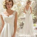 短納期 ウェディングドレス 二次会 婦さんもOK パーティー・結婚式・二次会・ドレス レース エンパイアドレス ウェディングドレ..
