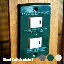 アメリカンビンテージ!おしゃれに飾るスイッチカバー! スチールスイッチプレート2(STEEL Switch plate2) 2口用 TK-2082 アートワークスタジオ(ART WORK STUDIO) 全3色(BU・GN・GY)
