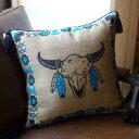 TASSELED Cushion Cover(タッセルクッションカバー)EL PASO SADDLEBLANKET Co.(エルパソサドルブランケット)Cow Skull(カウスカル)