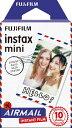 フジフイルム FUJIFILM チェキ インスタントカラーフィルム instax mini 絵柄入りフレーム 「エアメール」 1パック(10枚入)
