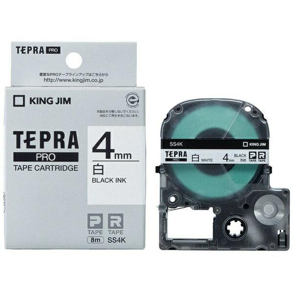 キングジム テプラ(TEPRA) 白ラベルテープ (白テープ/黒文字/4mm幅) SS4K