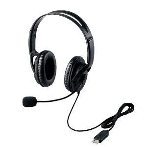 エレコム USBヘッドセットマイクロフォン/両耳オーバーヘッド/片出し