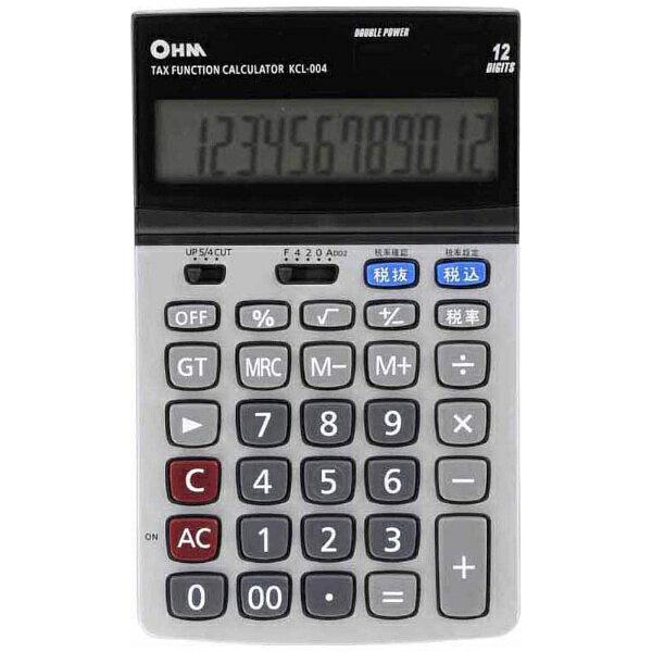 オーム電機 OHM ELECTRIC 「2電源 ビジネスL電卓(税計算機能付)」 (12桁) KCL-004[KCL004]