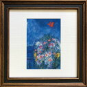 アートフレーム 名画 マルク・シャガール Marc Chagall Square Frame 赤い鳥 zfa-61674 抽象画 スタンド付(壁掛けも可) 絵画 壁掛け おしゃれ