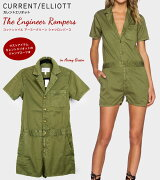 40%OFF 【 Current Elliott 】 カレントエリオット サファリ風 アーミー シャツ ロンパース / ジャンプスーツ 半袖 レディース The Engineer Rompers / Jumpsuits in Army Green 【送料無料】【正規品】 7052-0050
