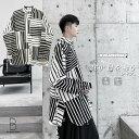 ビッグシルエット 幾何学 切り替え シャツ ボタンダウン 韓国 ファッション メンズ ゆったり 長袖 ロングスリーブ メンズ ストリート カジュアル メンズ 春 秋 冬 個性 大きいサイズ