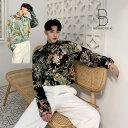 ショッピング韓流 韓国 ファッション メンズ ストールネクタイセット ボタニカル柄 ゆったり シャツ モード系 韓流 原宿系 韓国系メンズ 長袖 メンズ ストリート系 モードストリート K-POP アイドル 花柄 フラワー柄 総柄 リゾート