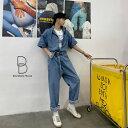 【送料無料】個性出したい人限定 メンズ 半袖 デニム ストールネック ジャンプスーツ ゆったり つなぎ オールインワン コンビネゾン ファッション ストリート カジュアル モード系 韓国 ファッション 韓流 【ラッキーシール対応】