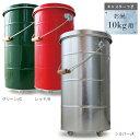 日本のトタンバケツ ライスストッカー[10kg] 【キャスター付き】 シルバー/レッド/グリーン 米びつ 木製取っ手 ふた付き 計量カップ付き 国産 日本製