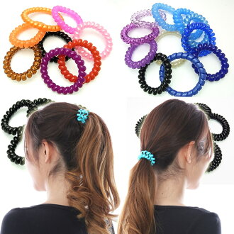 "Beauty hair spring... L size 7 book set ""coil / heaakuse / hair rubber / spiral / スプリングゴム / スプリングヘアゴム."