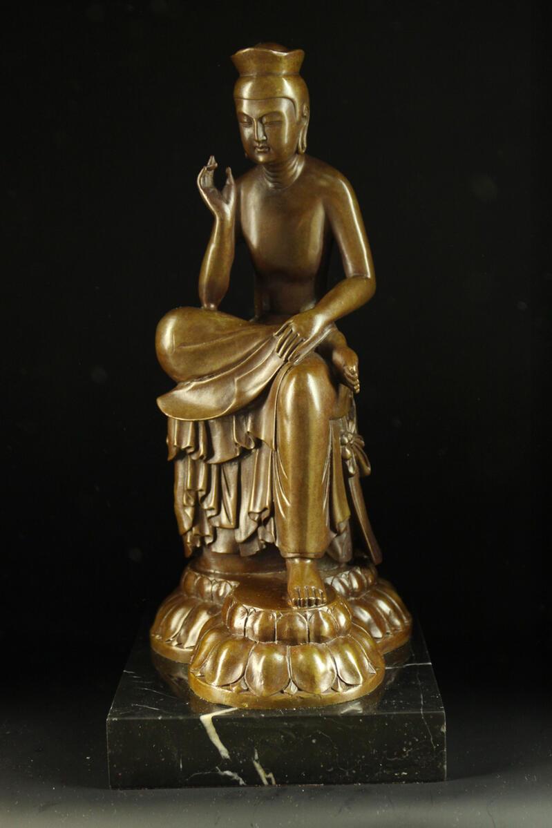 ブロンズ仏教美術弥勒菩薩半跏思惟像◇広隆寺の宝冠... 【楽天市場】ブロンズ仏教美術弥勒菩薩半跏