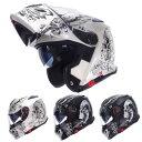 【今だけマスクプレゼント!】インナーバイザー付きフリップアップシステムヘルメット SG/PSCマーク付き アルファ2スカル ALPHA2 SKULL かっこいいフルフェイスヘルメット バイク用 クレスト