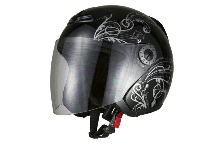 ジェットヘルメット グラフィックブラック XL 【バイク用 ジェッペル 原付・スクーター・…...:bike-parts:10001397