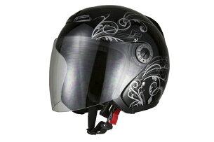 ジェット ヘルメット グラフィック ブラック ジェッペル スクーター オープン