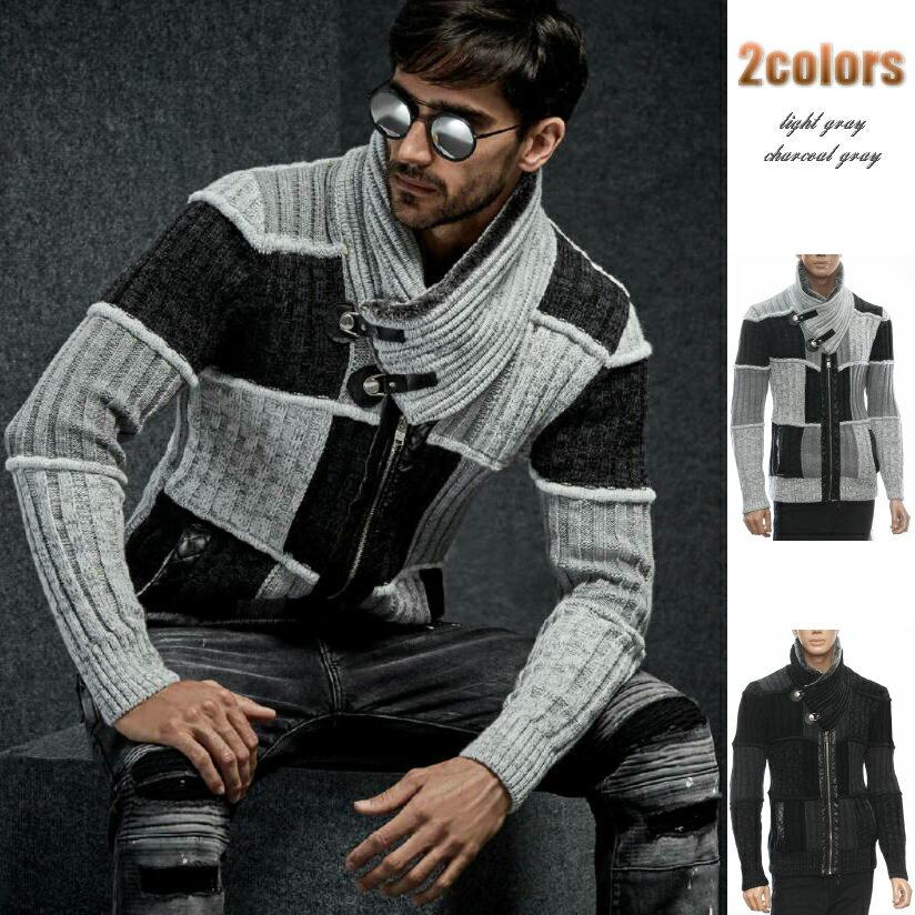 ニットジャケット ハイネック ジップアップ ニット セーター メンズ グレー白黒 M/L/XL/XXL