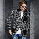ニット テーラードジャケット メンズ 秋冬 グレー/黒/白 アウター セーター 羽織り