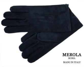 古典義大利男裝絨面皮革手套皮革手套那不勒斯建立品牌 ! MEROLA «米羅» 皮革手套在義大利義大利製造 lamsweerde < 藍光海軍 > «羊絨面料:-在義大利義大利皮革手套 «»