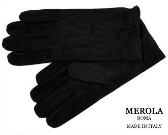 古典義大利男裝絨面皮革手套皮革手套那不勒斯建立品牌 ! MEROLA «米羅» 皮革手套在義大利義大利製造 lamsweerde < 尼祿黑色 > «羊絨面料:-在義大利義大利皮革手套 «»