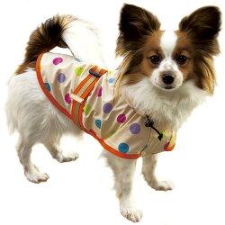 小型犬用ドットレインポンチョサイズM全2色胴回り35-51cmの小型犬におすすめサイズです!
