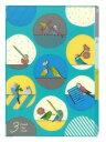 9995231【MIDORI】3ポケットクリアホルダー・A4(ブルー)/オカメ・セキセイ・コザクラ・マメルリハ・文鳥柄 35254006