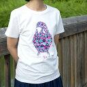 ショッピングTシャツ TOMO YAMASHITA DESIGN STUDIO. / セキセイインコ フラワー Tシャツ / ホワイト サイズ S 195A0266 ( BIRDMORE バードモア 鳥用品 鳥グッズ 雑貨 グッズ 鳥 とり トリ インコ プレゼント )