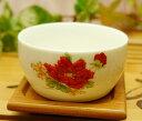 中国茶器 紅牡丹茶杯 (湯呑) キチン 雑貨 茶杯 中国茶器 白磁中国産 プーアル茶杯 烏龍茶におすすめ 中国茶 プーアル茶