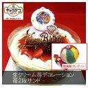 苺2段サンド/キラキラ☆プリキュアアラモード2017・キャラデコケーキ5号/4種類のケーキからお選び下さい/バースデーオーナメントとキャンドル小1袋6本付き/(お面とバルーンは付いておりません)/ポストカード無料
