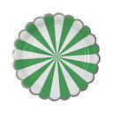 【Meri Meri】TOOT SWEET 18cm グリーンストライプ ペーパープレート 8枚 【お皿・プレート】ペーパープレート パーティー用紙皿 バー..