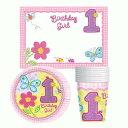 【1歳 誕生日】【ファーストバースデーパッケージ】 1歳の女の子 おめでとうテーブルウェア ピンク