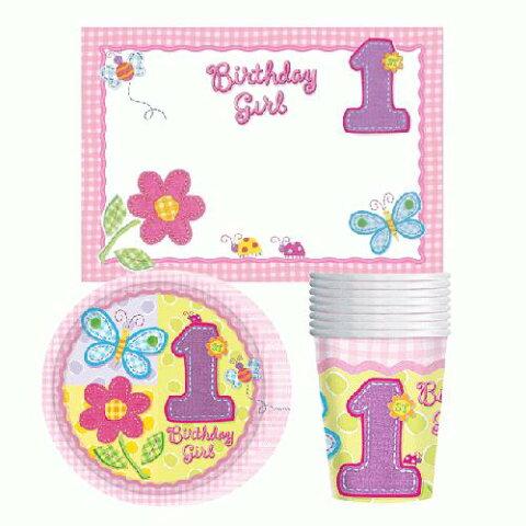 【1歳 誕生日】【ファーストバースデーパッケージ】 1歳の女の子 おめでとうテーブルウェア ピンク お誕生日のお祝い HAPPY BIRTHDAY 自宅で記念撮影 おうちスタジオ バースデイ