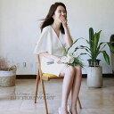 ワンピース ウェディングドレス オーダーメイドも可能 膝丈 ウエディングドレス スレンダーライン Vネック ファスナータイプ 前撮り 後..