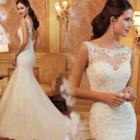 オーダーメイドも可能 ウェディングドレス マーメイドライン ロングドレス ウェディングドレス ウエディングドレス ノースリーブ レー..