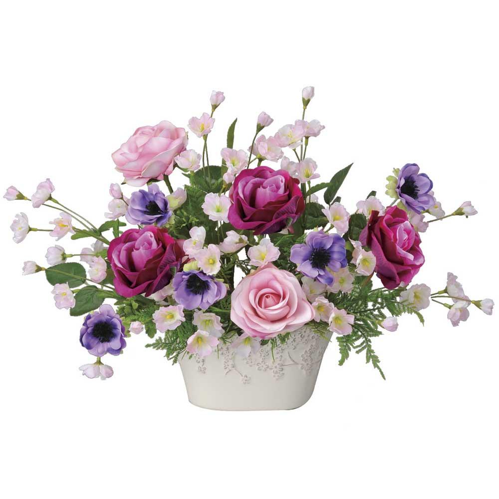 造花アート・アレンジメント ローズベール 誕生日祝いの贈り物、プレゼントに最適 ※抗菌、消臭、防汚などに効果のある光触媒人工植物【送料・立札orメッセージカード無料】 空間浄化作用のある光触媒の高級造花は水やりなど面倒な日頃のお手入れは不要、誕生日祝いの贈り物、プレゼントにオススメの商品です。