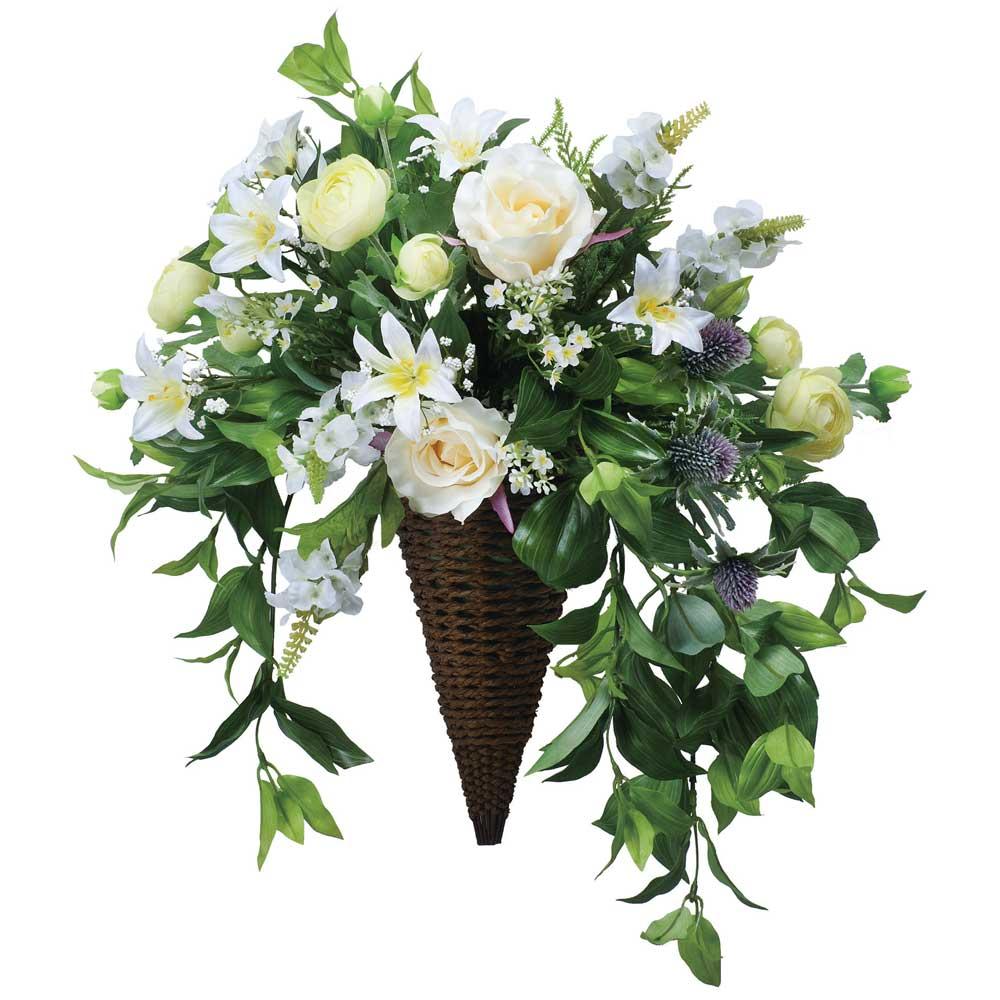 造花アート・アレンジメント 壁掛けスイートグリーン ※抗菌、消臭、防汚などに効果のある光触媒人工植物【送料・立札orメッセージカード無料】 ハイクオリティな高級造花は水やりなど面倒な日頃のお手入れは不要です。空間浄化作用のある光触媒の高級造花はオススメです。