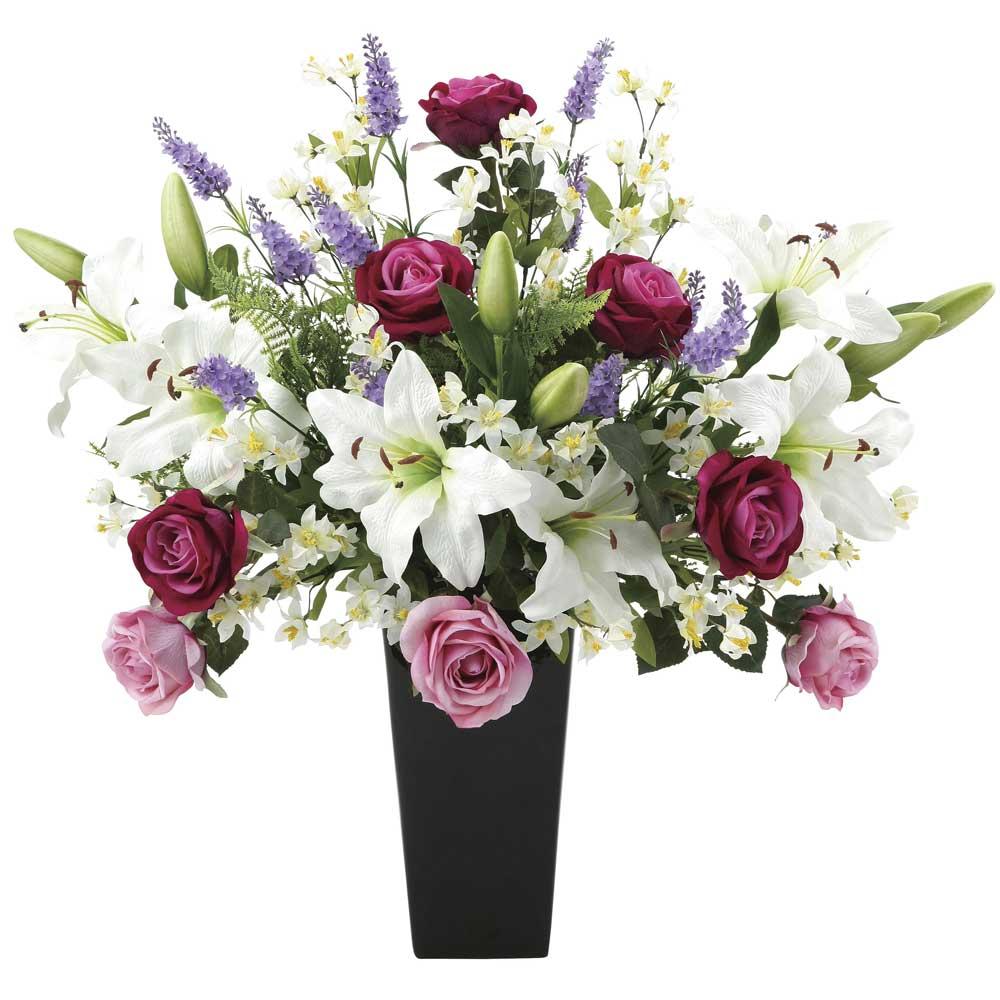 造花アート・アレンジメント プレミアムカサブランカ ビジネスシーンでの贈り物、プレゼント、演出に最適 ※抗菌、消臭、防汚などに効果のある光触媒人工植物【送料・立札orメッセージカード無料】 空間浄化作用のある光触媒の高級造花は水やりなど面倒な日頃のお手入れは不要、ビジネスシーンでの贈り物、プレゼントにオススメの商品です。