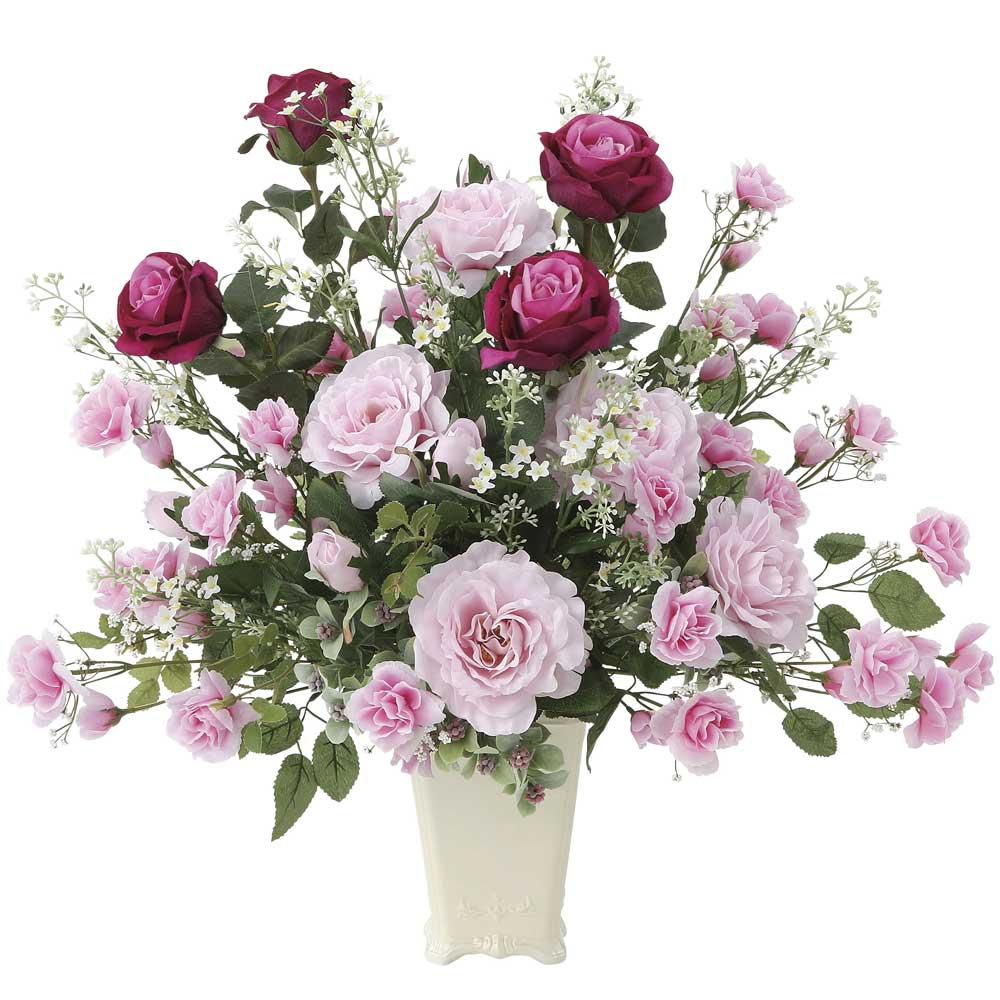 造花アート・アレンジメント グランドローズ 様々なお祝いへの贈り物、プレゼントに最適 ※抗菌、消臭、防汚などに効果のある光触媒人工植物【送料・立札orメッセージカード無料】 空間浄化作用のある光触媒の高級造花は水やりなど面倒な日頃のお手入れは不要、様々な機会への贈り物、プレゼントにオススメの商品です。