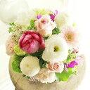 アレンジメントフラワーSサイズ Girlishness(ピンク系)※デザイナーが手がけるお洒落な一品。結婚祝い、入籍祝いなど、ブライダル関連...