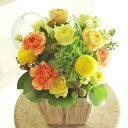アレンジメントフラワーSサイズ Warm Impressed(黄色・オレンジ系)※デザイナーが手がけるお洒落な一品誕生日祝い 誕生祝い 誕生日 バースディ 出生 贈り物 フラワーギフト プレゼント お祝い お花 送料無料 メッセージカード無料 あす楽